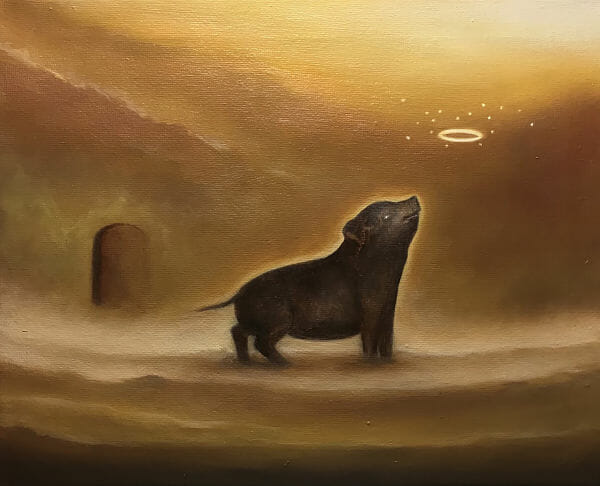 Patrick Thai familiars dark art pig heaven painting