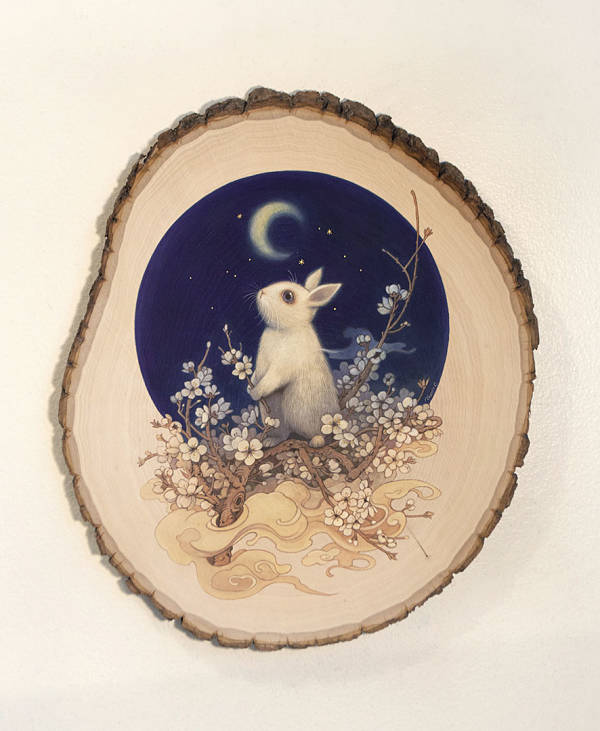 "Phoenix Chan, ""Branches #25"", gouache and color pencils bunny on wood"