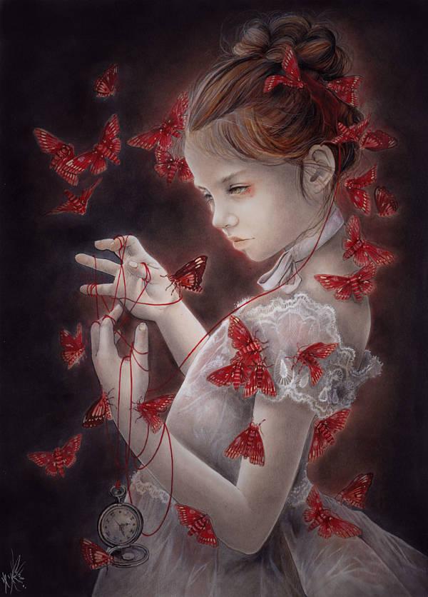 Yuriko Shirou Polillas rojas (Red Moths) illustration