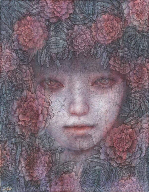 Atsuko Goto surreal girl and red flowers