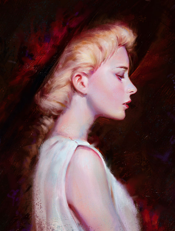 Guweiz blonde woman digital painting