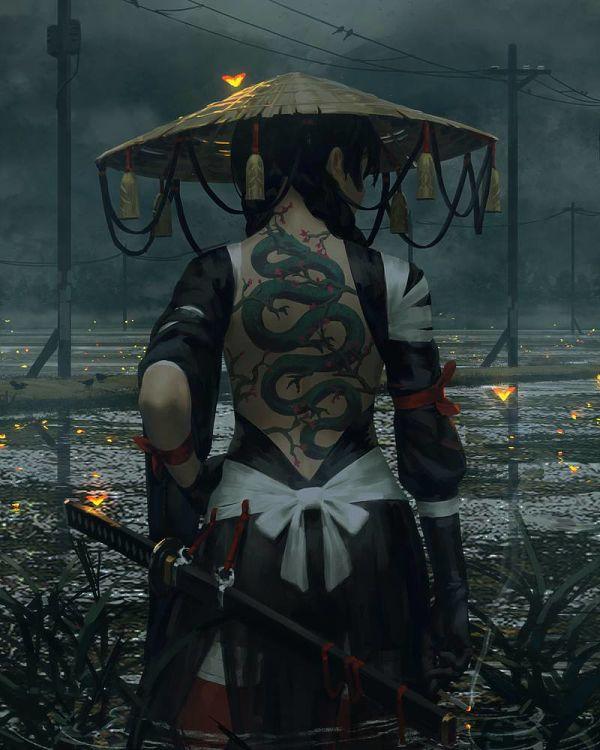 Guweiz female ronin digital painting