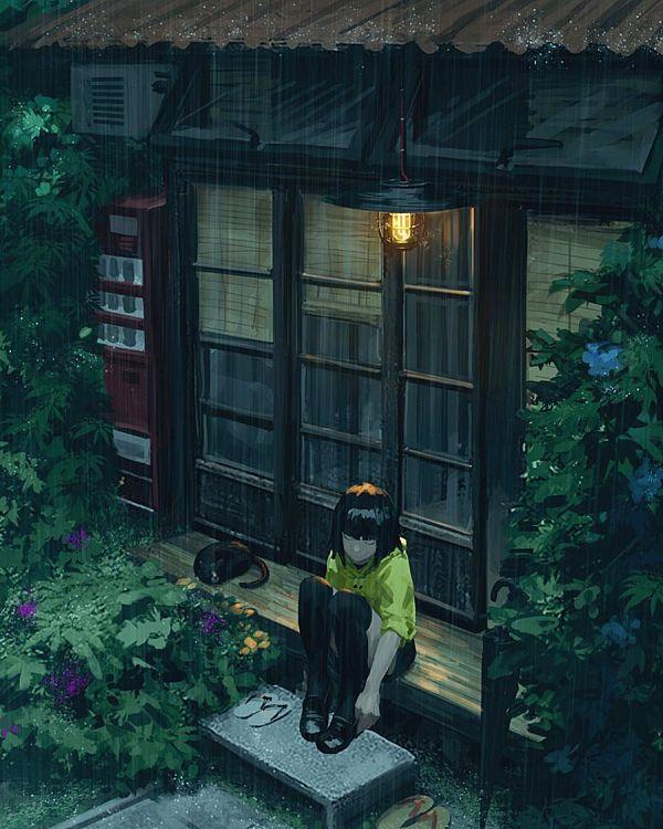 Guweiz girl garden digital painting