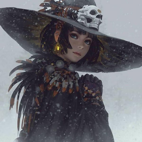 Guweiz snow witch digital painting