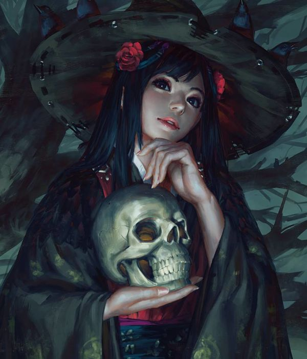 Guweiz witch with skull digital painting