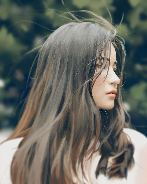 Guweiz long hair digital painting
