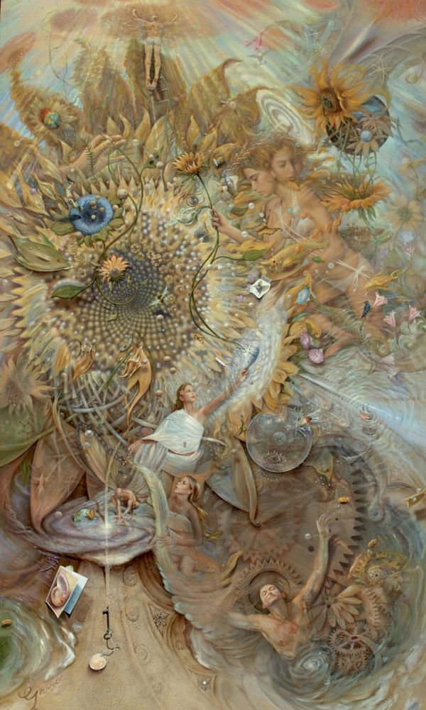 "Mark Garro surreal heaven painting ""The Somewhat Mechanical Organical Heaven Dynamical"""