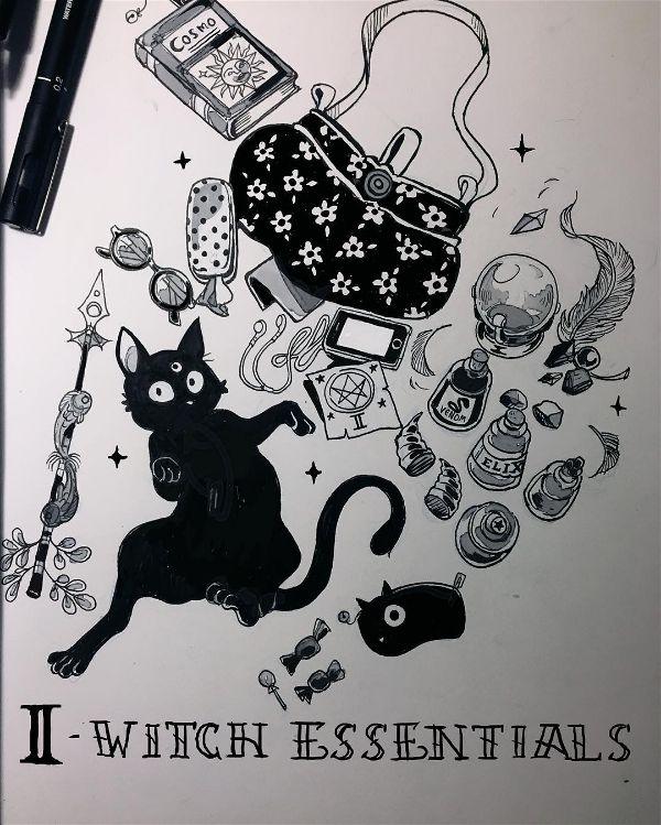 Gabriel Picolo cat witch doodle