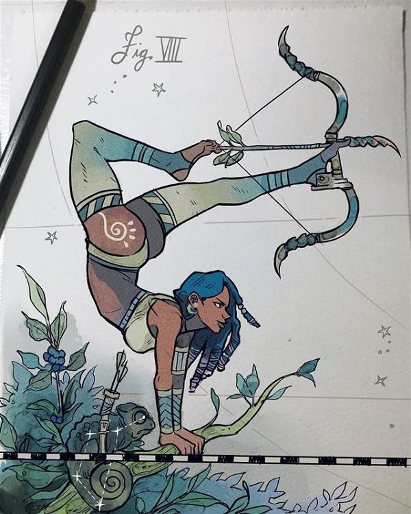 Gabriel Picolo woman archer doodle illustration