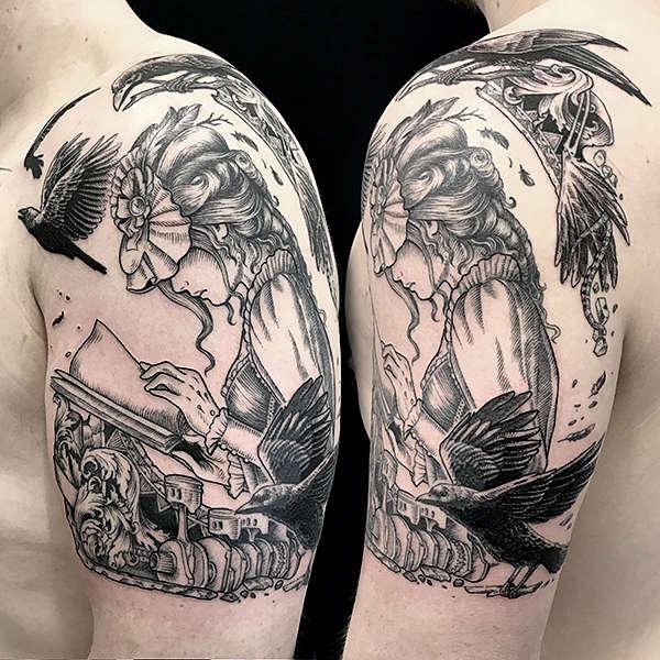 tattoo steam punk maiden artist Nickas Serpentarius