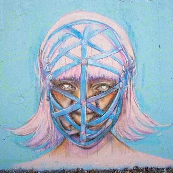 Anne Bengard Woman Mask Mural
