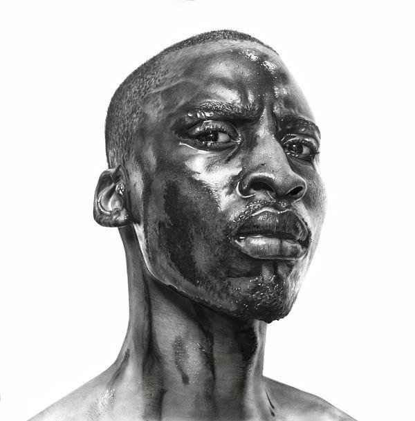 Arinze Stanley hyper-realistic The Machine Man graphite drawing