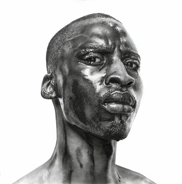 Arinze Stanley hyper-realistic The Machine Man graphite drawing