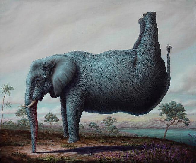 Bruno Pontiroli elephant painting BLAB! 14th show Copro Gallery
