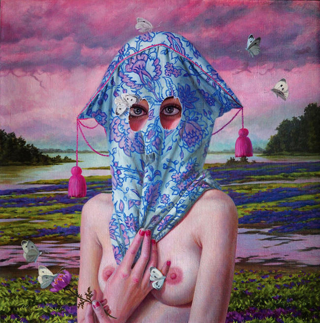 Jana Brike topless woman painting with butterflies BLAB 14th group exhibition Copro Gallery