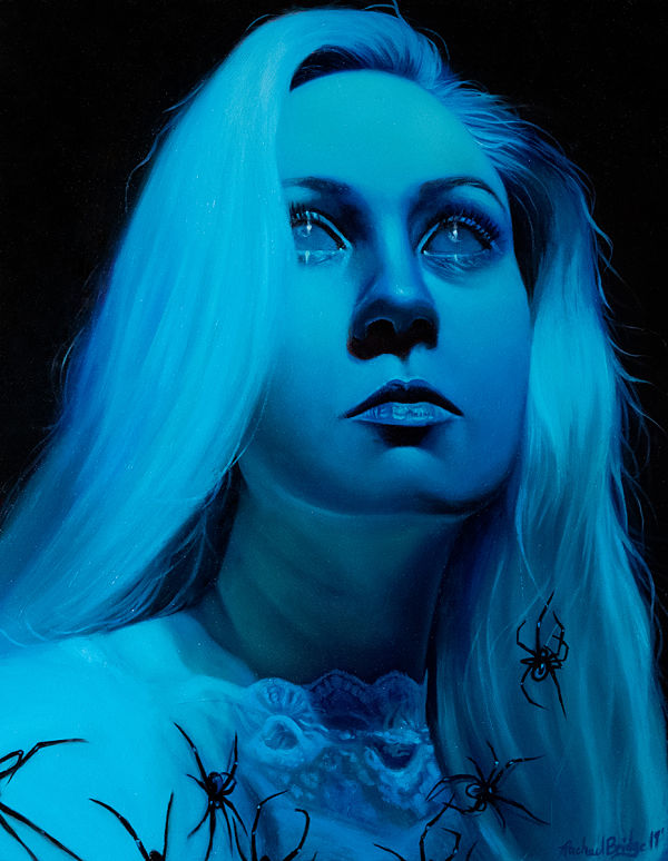 Rachael Bridge mourning blue spider portrait painting