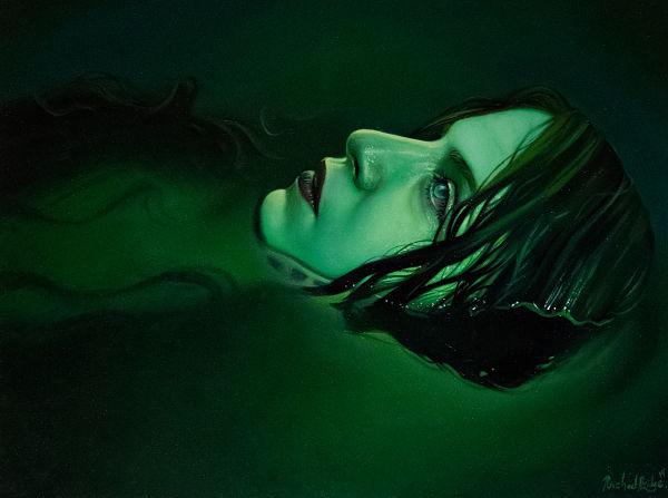 Rachael Bridge green girl in water egret painting