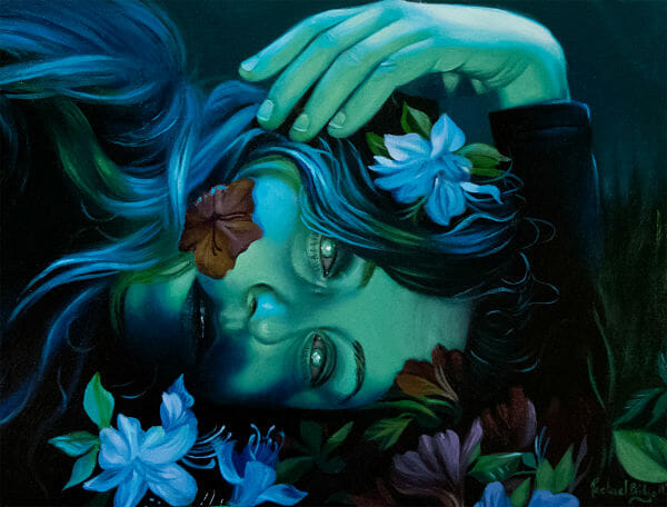 Rachael Bridge within, without surreal green portrait flowers painting