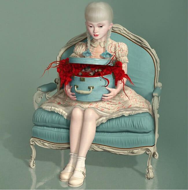 Ray Caesar digital painting girl chair BLAB Copro Gallery