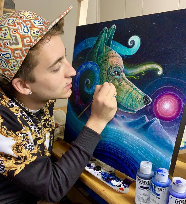 Ricky Schaede work in studio