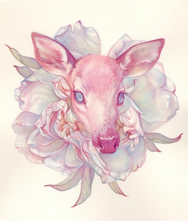 Tracy Lewis Full Bloom surreal watercolor flowers fawn painting