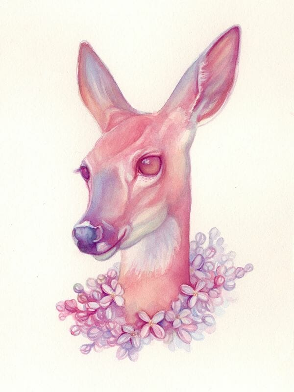 Tracy Lewis Full Bloom surreal watercolor painting