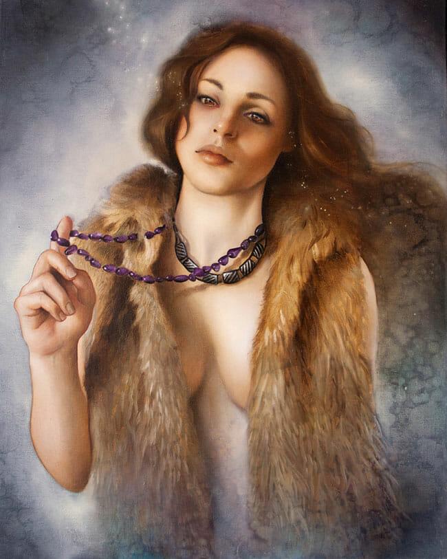 erica calardo painter broken spell necklace figurative art