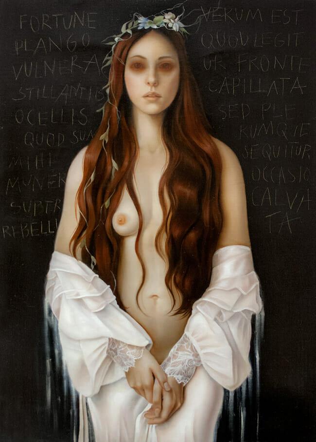 erica calardo painter fortuna fragilis hair figurative art