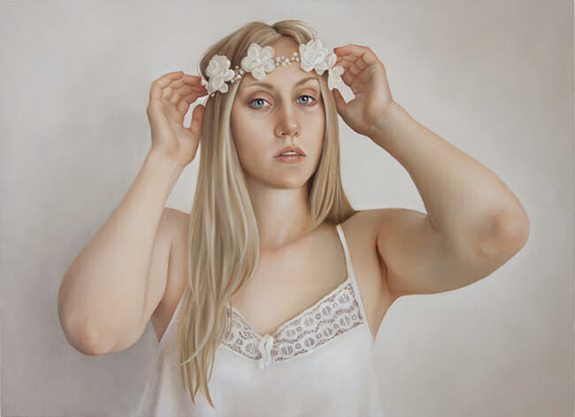 erica calardo painter requiem for a dream whiteflowers woman figurative art