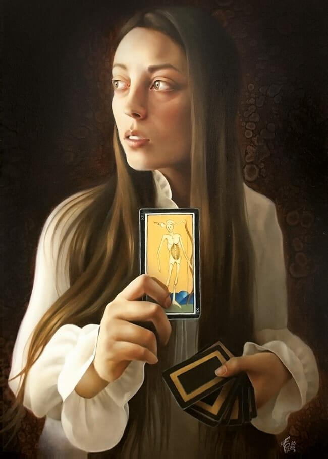 erica calardo painter self portrait the choice tarot figurative art