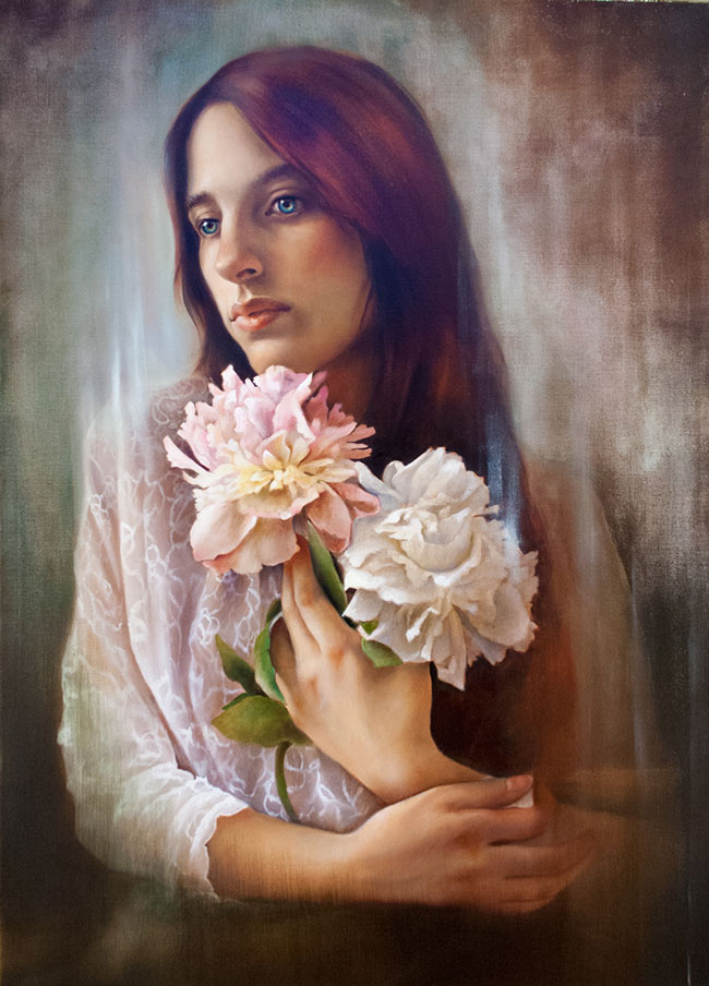 erica calardo painter two roses brunette blue eyes