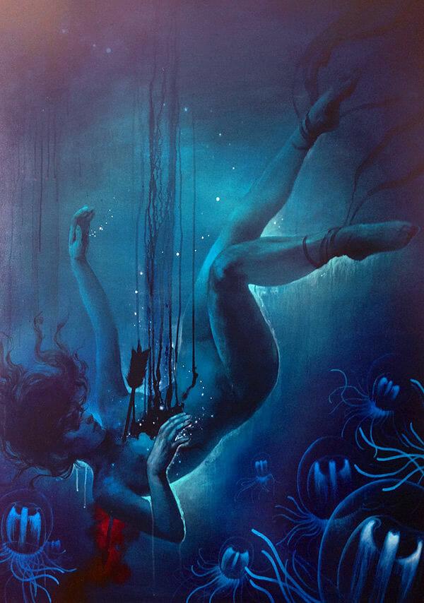 Teresa Sharpe take over Heather McLean dark art painting