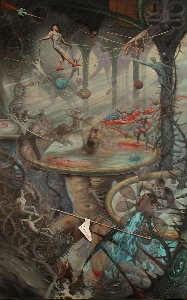 Mark Garro hell triptych surreal painting