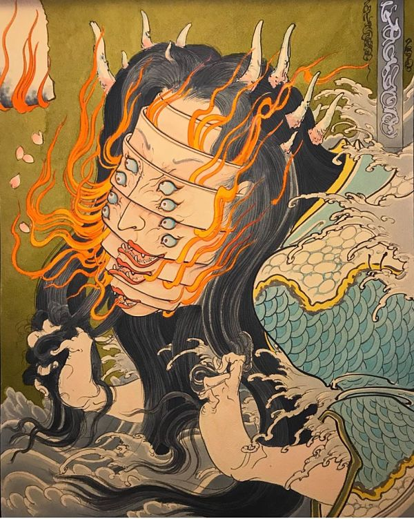 Teresa Sharpe take over Mike Dorsey japanese yokai illustration