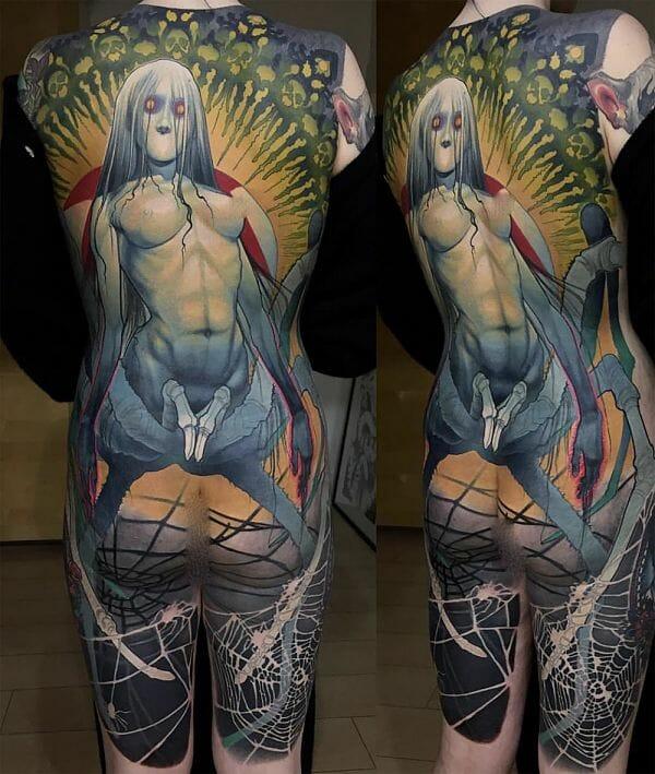Teresa Sharpe take over Steve Moore back tattoo