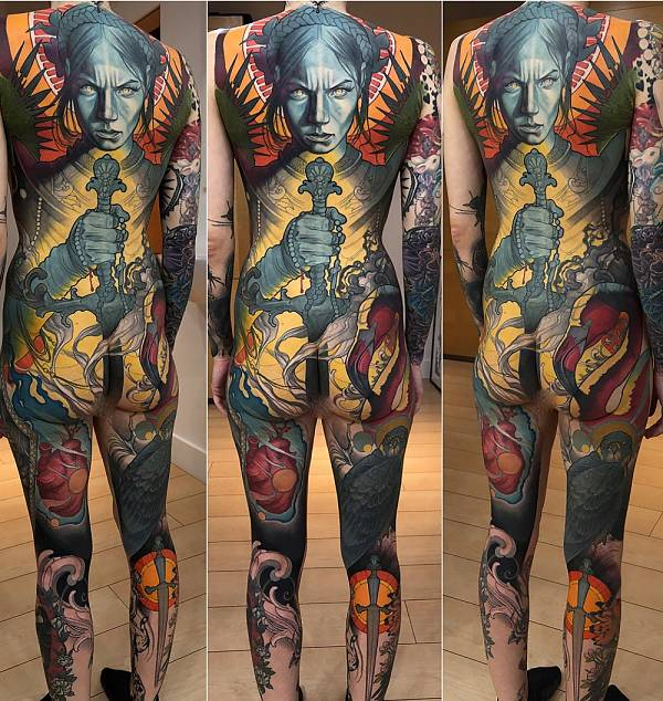 Teresa Sharpe take over Steve Moore full body tattoo