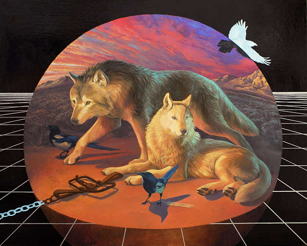 Alexis Kandra Life on Spaceship Earth surreal wolf painting