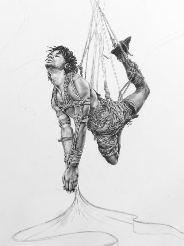 Anne Bengard Graphite Portrait Man Shibari Rope