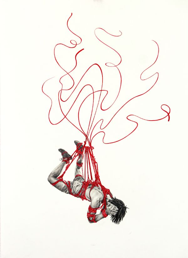 Anne Bengard Pencil Portrait Man Shibari Rope