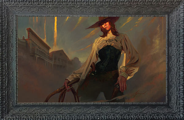 "Gabe Leonard female outlaw ""Redemption"" painting"