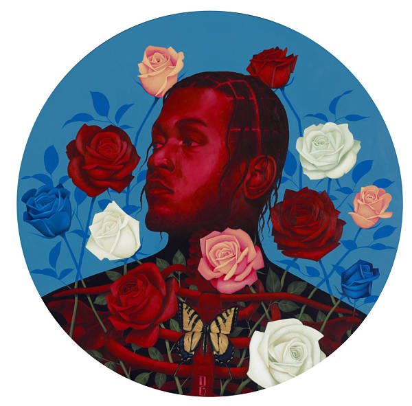 "Gustavo Rimada ""To pimp a butterfly"" surreal portrait roses painting"