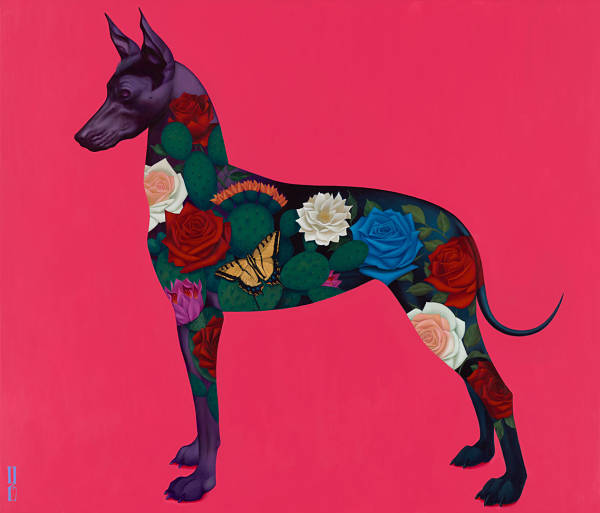 "Gustavo Rimada ""Xolo"" vibrant tattoo dog painting at Haven Gallery"