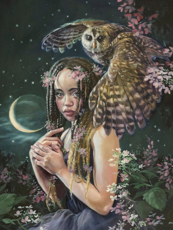 """Jennifer Hrabota Lesser """"Daughter of the Moon"""" oil painting at Haven Gallery"""