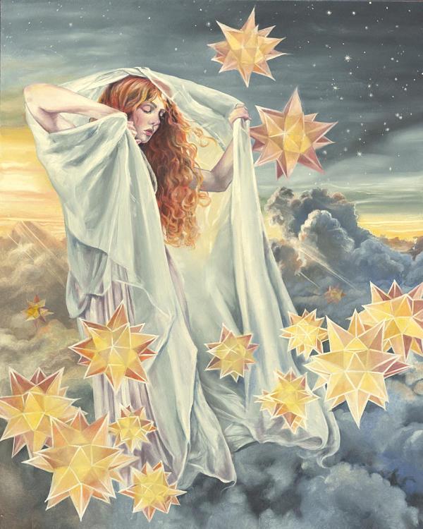 "Jennifer Hrabota Lesser ""Eos"" goddess painting at Haven Gallery"