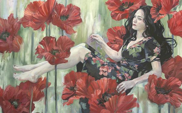 "Jennifer Hrabota Lesser ""Untethered"" women floating on poppies painting"
