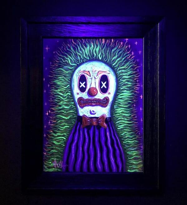 "Jeremy Cross Circus Punk Clown black light painting ""SPOOKHAUS!"""