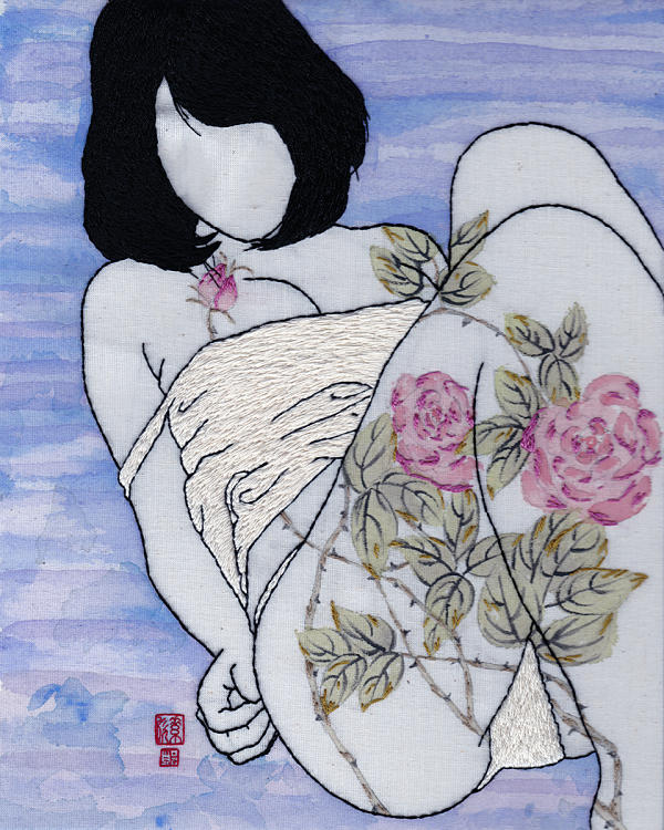 Jessica So Ren Tang rose textile paint embroidery