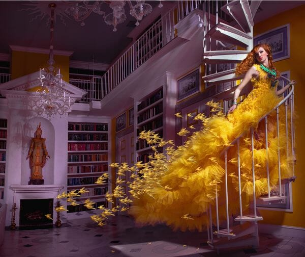Miss Aniela Natalie Lennard Woman Yellow Gown Staircase Photograph