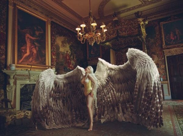 Miss Aniela Natalie Lennard Woman Wings Corset Photograph