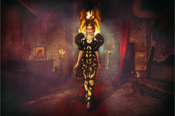 Miss Aniela Natalie Lennard Woman Flames Smoky Backdrop hotograph